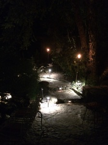 Landscape Lighting enhances pathways as well as Waterfalls and plantings.