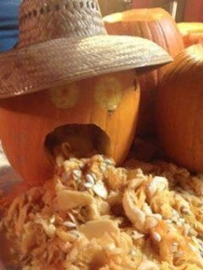 Here's one of Mark's crazy carvings... LOTS of FUN & take your pumpkin home from the class!